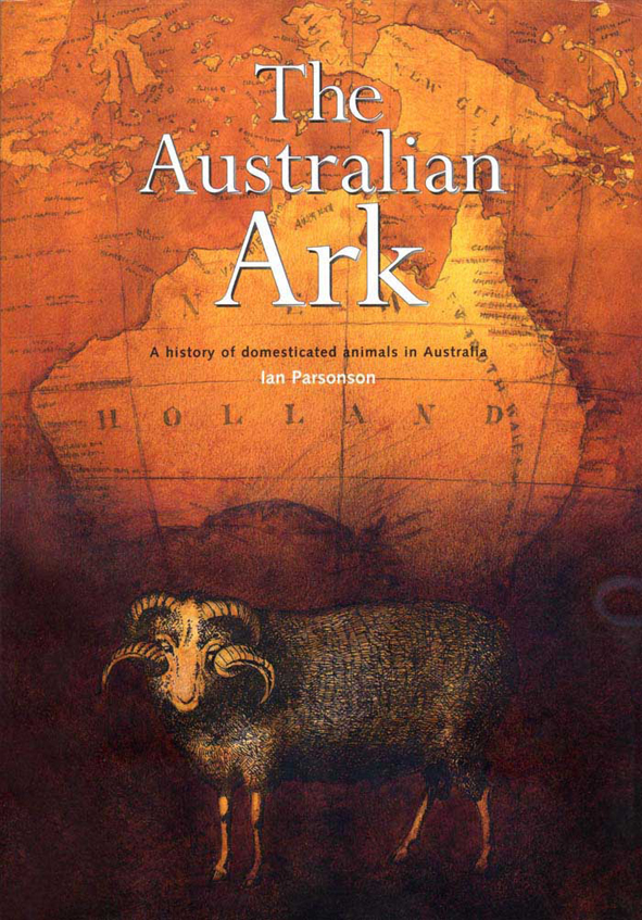 The cover image of The Australian Ark, featuring an old outdated orange ma