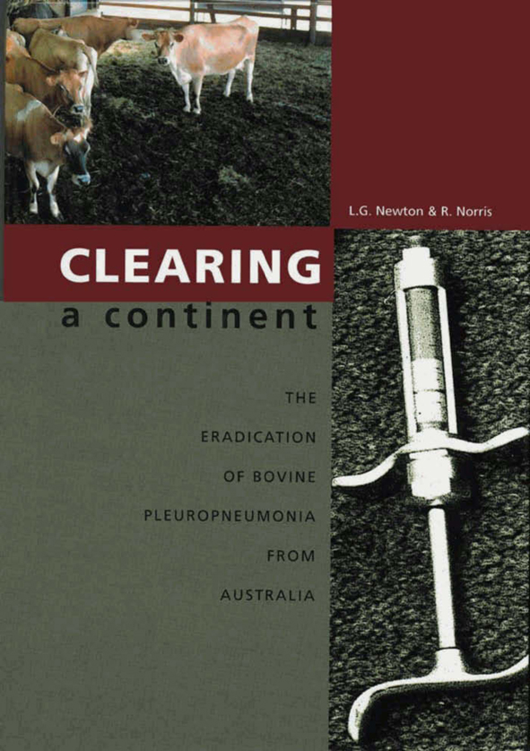 The cover image of Clearing a Continent, featuring a plain grey and red ba