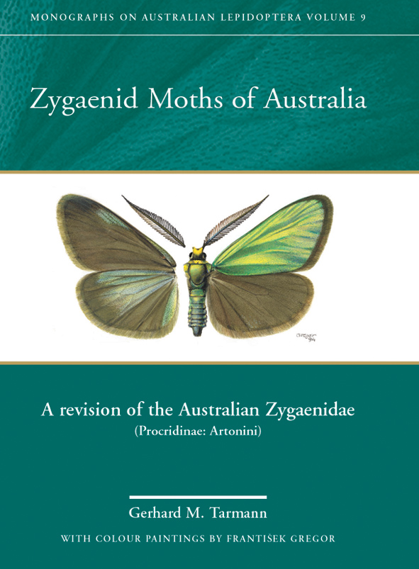 The cover image of Zygaenid Moths of Australia, featuring a moth with gree
