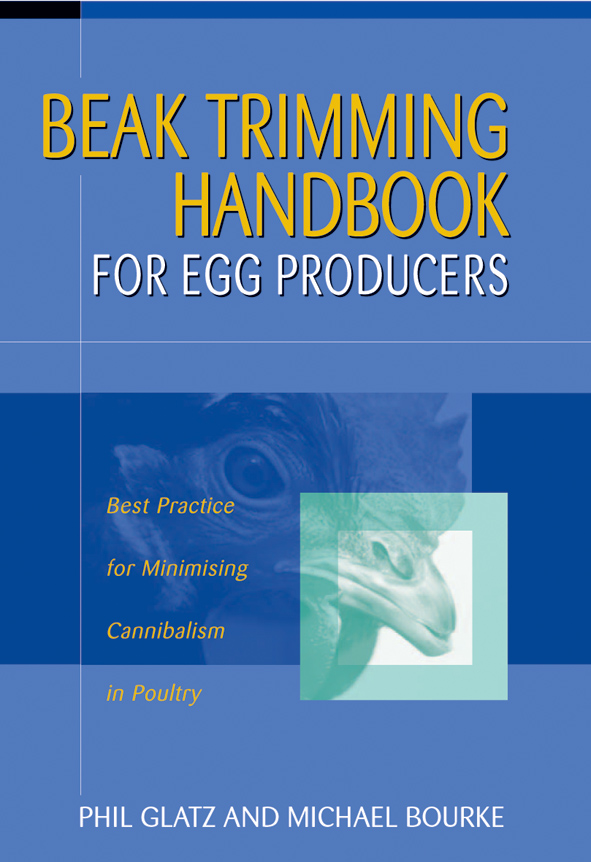 The cover image of Beak Trimming Handbook for Egg Producers, featuring a c