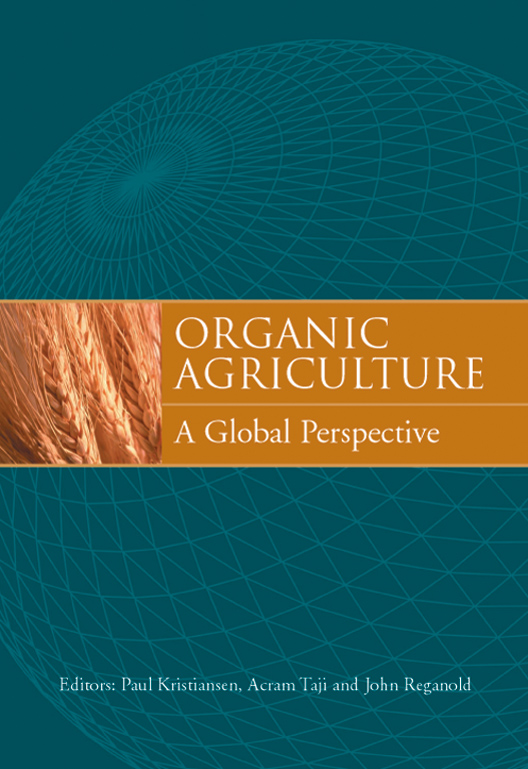 The cover image of Organic Agriculture, featuring a globe in shades of gre