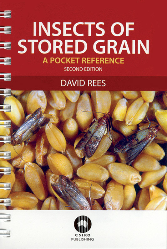 The cover image of Insects of Stored Grain, featuring grain with insects t