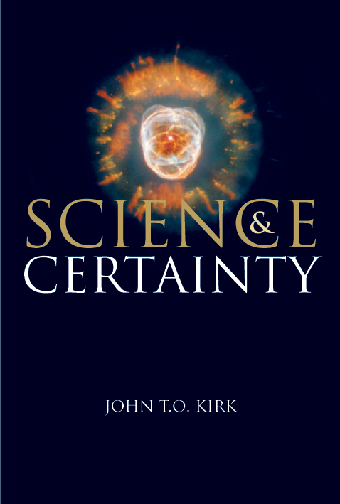 The cover image of Science and Certainty, featuring a plain navy cover wit