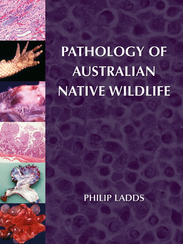 The cover image of Pathology of Australian Native Wildlife, featuring micr