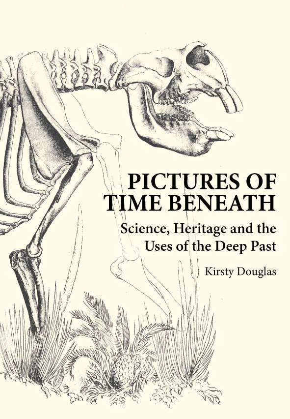 The cover image featuring a skelleton of a large animal with large teeth.