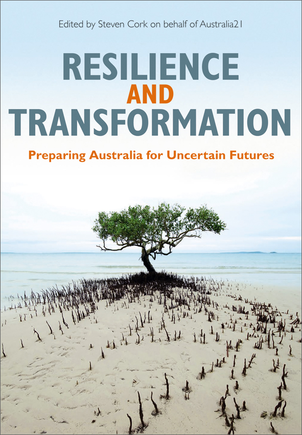 The cover image of Resilience and Transformation, featuring a tree on a sa