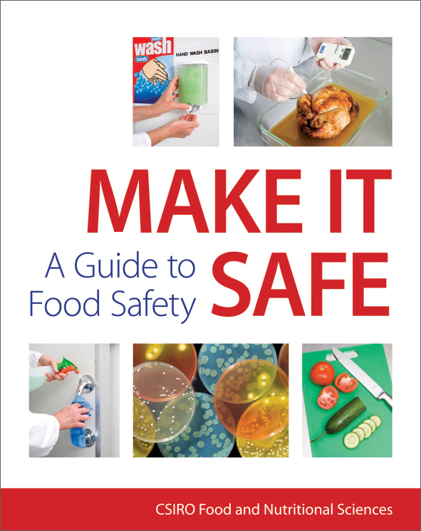 The cover image of Make It Safe, featuring five images related to food saf