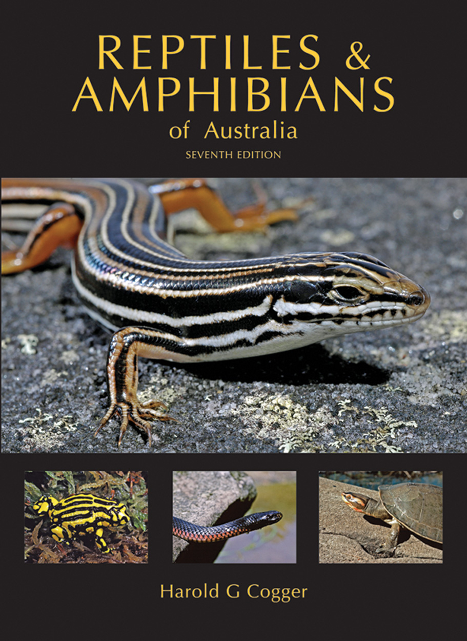 The cover image of Reptiles and Amphibians of Australia, featuring a large