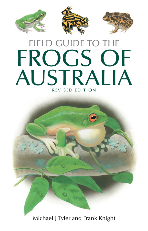 The cover image of Field Guide to the Frogs of Australia, featuring four f