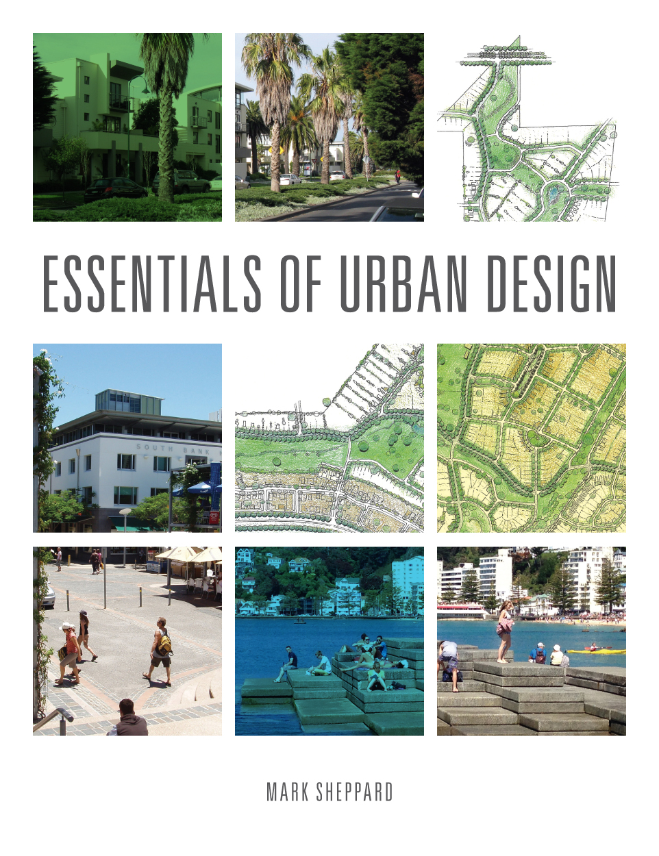 The cover features urban maps and photos of urban environments on a white