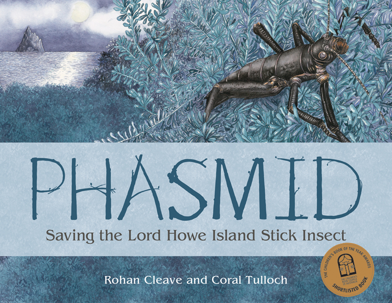 Cover image featuring an illustrated Phasmid on dark foliage with an islan