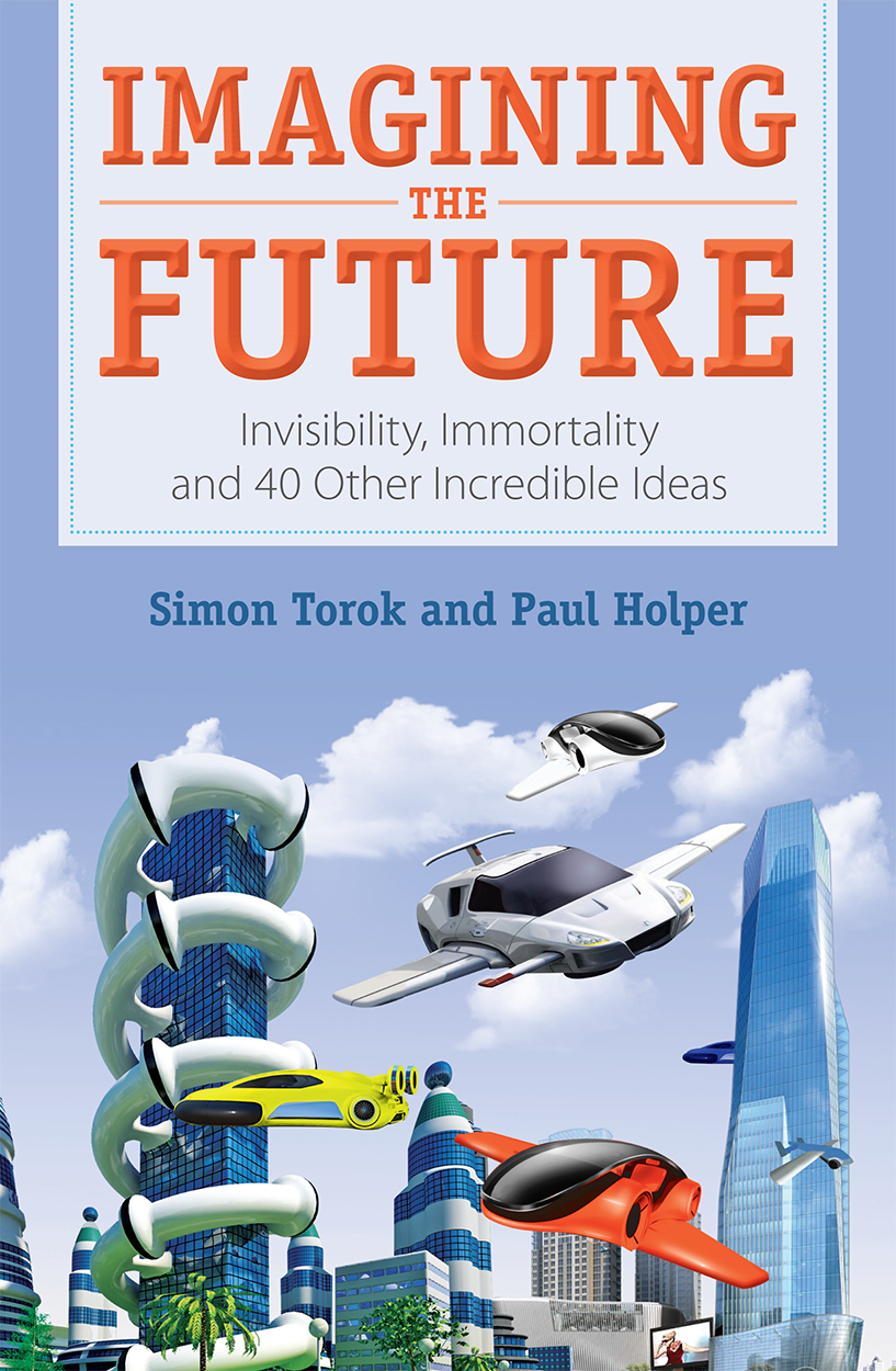 Cover featuring an image of cars flying across a futuristic city backdrop.