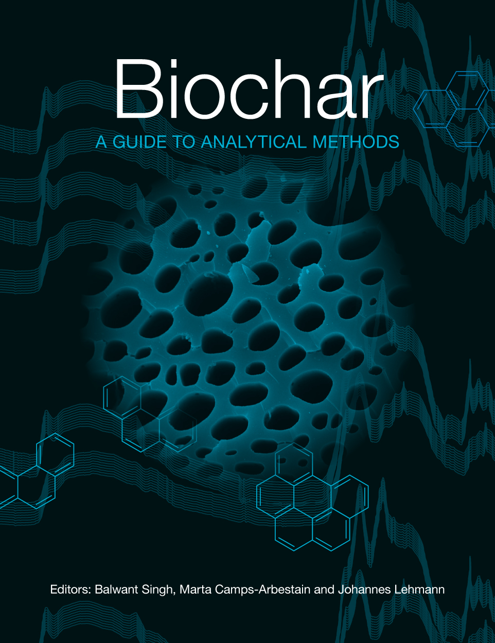 Cover featuring an abstract arrangement of a microscope image of biochar a