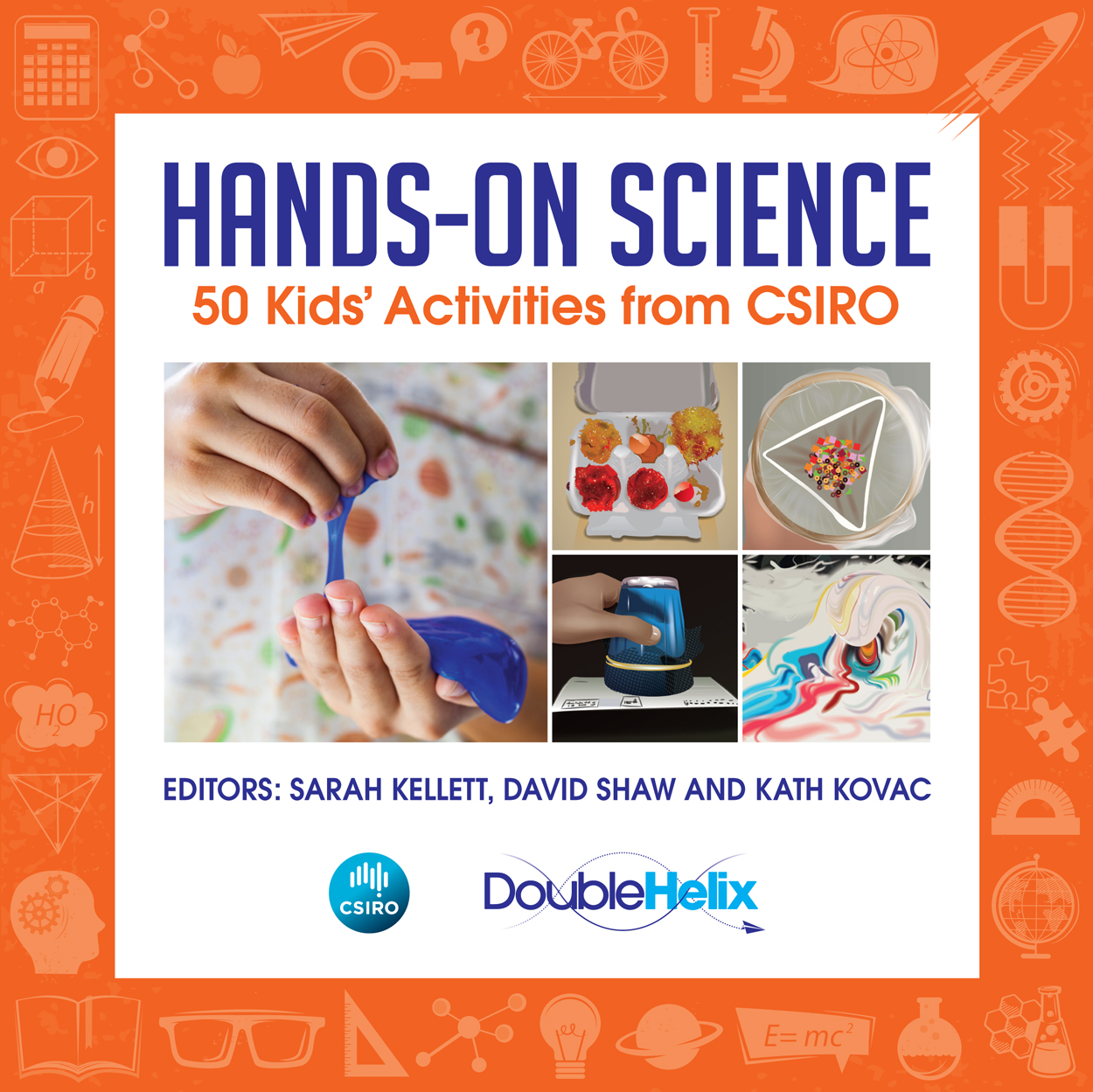 Cover featuring five images of science activities on a white background, w