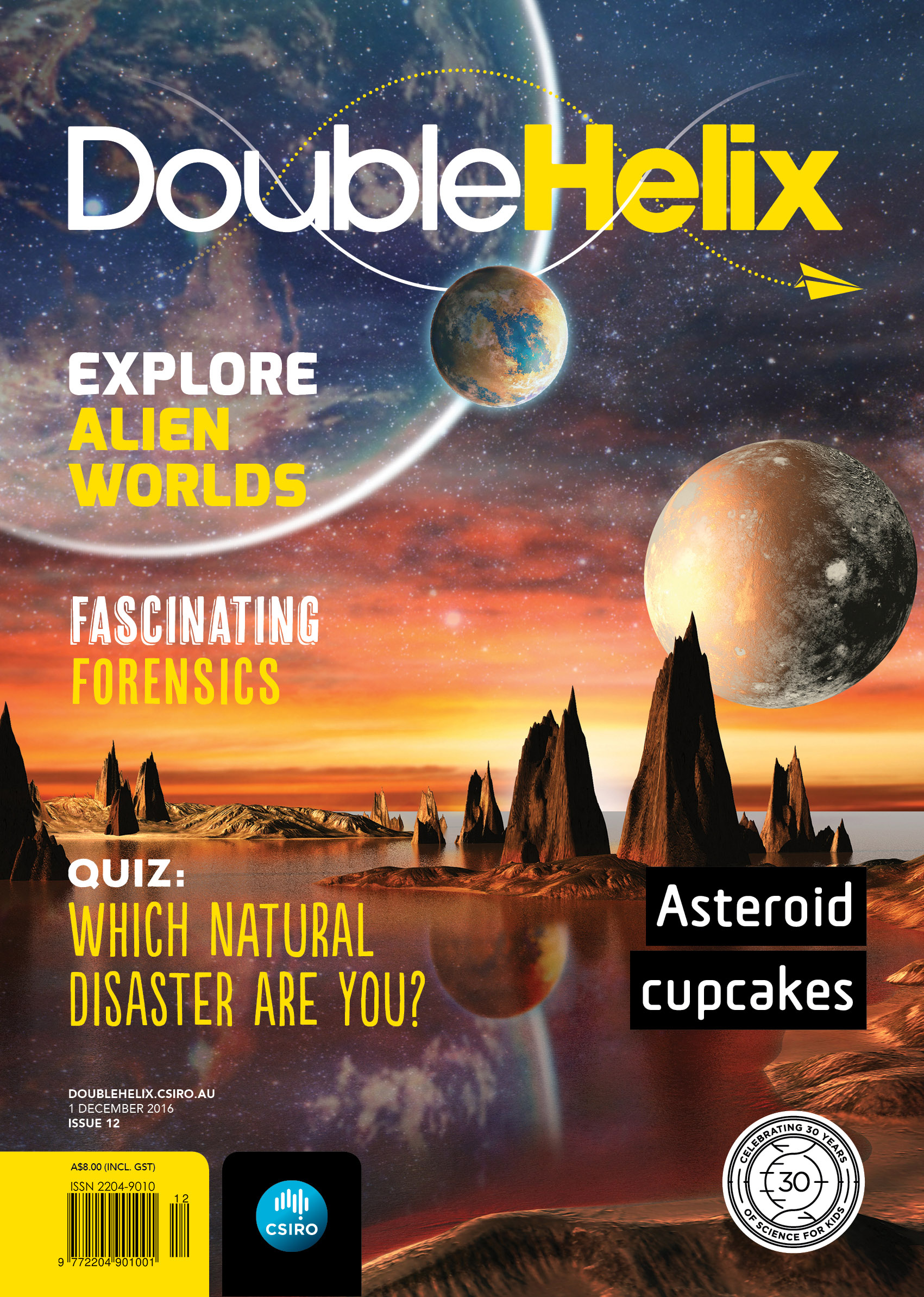 Cover with alien worlds landscape, a lake and planets in the distance