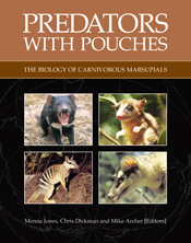 The cover image of Predators with Pouches, featuring four square animal pi