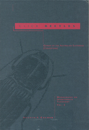 The cover image of Click Beetles, features a dark grey illustration of a c