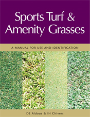 The cover image of Sports Turf and Amenity Grasses, featuring four vertica