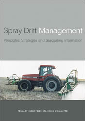 The cover image of Spray Drift Management, featuring a red tractor pulling