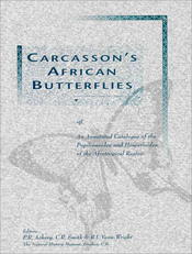 The cover image of Carcasson's African Butterflies, featuring a dark grey