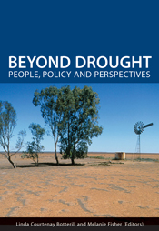 The cover image of Beyond Drought, featuring brown red land with four smal