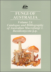 The cover image of Fungi of Australia Volume 2A, featuring white and peach