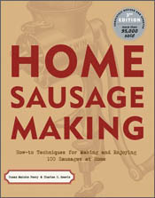 Cover image of Home Sausage Making, featuring red text over a drawing of a
