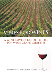 The cover image of Vines for Wines, featuring rows of green grape vines, w