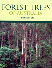 The cover image of Forest Trees of Australia, featuring tall trees and dif