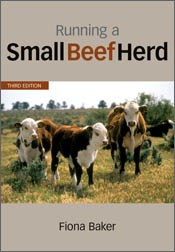 The cover image of Running a Small Beef Herd, featuring three brown and wh
