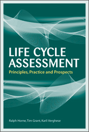 The cover image of Life Cycle Assessment, featuring two waved white Spirog