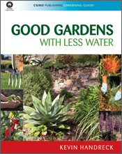 The cover image of Good Gardens with Less Water, featuring pictures of gar