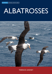The cover image of Albatrosses, featuring albatrosses in flight over the o