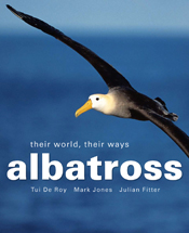 The cover image of Albatross, featuring an albatross in flight with an out