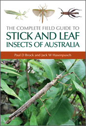 The cover image featuring a large stick insect on a large green leaves, wi