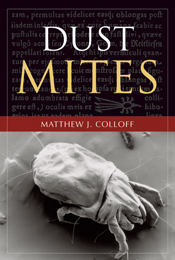 The cover image of Dust Mites, featuring a black and white microscopic vie
