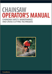 The cover image of Chainsaw Operator's Manual, featuring a man in a high v
