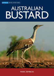 The cover image of Australian Bustard, featuring a large bird walking in d