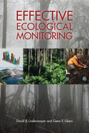 The cover image of Effective Ecological Monitoring, featuring four images