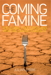 The cover image of Coming Famine, featuring a silver fork sticking out of