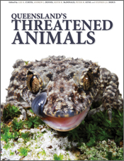 The cover image of Queensland's Threatened Animals, featuring a lizard on