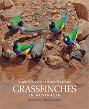 Cover image featuring seven finches, four of which are brightly coloured s