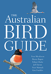 Cover featuring a brolga flying in a blue sky over the white title with a