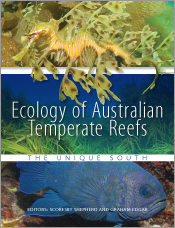 The cover image of Ecology of Australian Temperate Reefs, featuring three