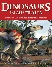 The cover image featuring two large and three small dinosaurs looking to t