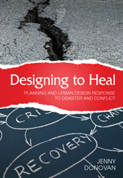 The cover image of Designing to Heal, features a close up view of a crack