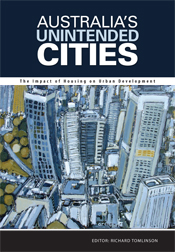 The cover image of Australia's Unintended Cities, features an illustrated