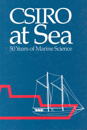 The cover image of CSIRO at Sea, features a red and a white boat outline a