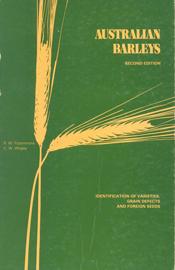 Cover image of Australian Barleys, featuring the wheat coloured shape of t