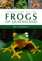 The cover image of Field Guide to the Frogs of Queensland, features one la